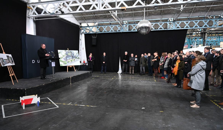 Pose de la première pierre du concept mixte urbain Les Ateliers du Faubourg à Lyon.
